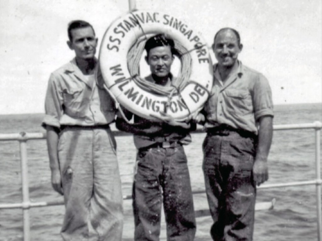 Dad on the SS Stanvac Singapore